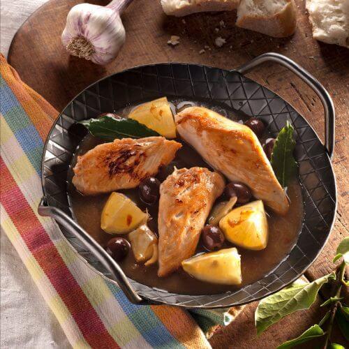 Hähnchenbrust in Zitronen-Oliven-Sauce